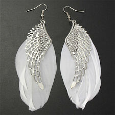 New Angel Wing Feather Dangle Earring Vintage Jewelry Long Earrings for Women TB