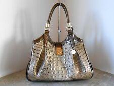 New BRAHMIN Elisa BARLEY BRONTE Embossed Leather Shoulder Bag $415 BARLEY BRONTE