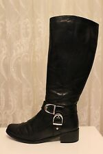 Karen Millen Black D Buckle Flat Leather Classic Long Riding Knee Zip Boots 4 37
