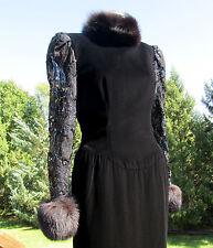 FABULOUS VINTAGE LILLIE RUBIN OLD HOLLYWOOD BLACK VELVET/FOX FUR GOWN/DRESS 70's