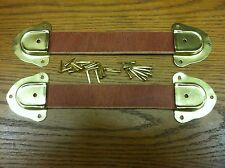 "Antique Trunk Hardware-Two 9"" Leather Handles, 4 Metal ends & fasteners-Russett"