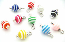 10 ROUND 8MM RESIN BEAD CHARMS DANGLE PENDANT CHARM BRACELET JEWELLERY MAKING