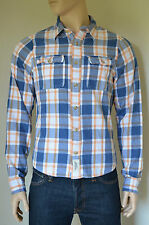 NEW Abercrombie & Fitch Meacham Lake Twill Flannel Shirt Orange Plaid Shirt L