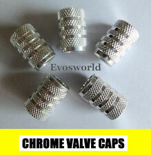 CHROME SILVER VALVE TYRE DUST WHEEL CAPS RENAULT MEGANE ESTATE