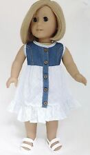 "Denim & Cotton Sleeveless Dress made for 18"" American Girl Doll Clothes"