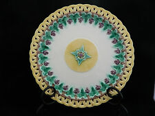 Antique Wedgwood Majolica Reticulated Grape Vine Plate 1872