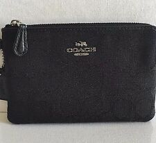 NWT COACH 54627 Corner Zip Wristlet Signature Canvas Black
