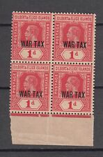 Gilbert & Ellice islands King George MNH Block of 4 Stamps overprint WAR TAX
