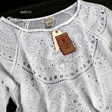 NWT LUCKY Brand Embroidery Floral Cutout eyelet Tunic Top L Large Shirt NEW