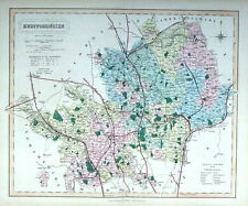 HERTFORDSHIRE,  Walker Hand Coloured Antique County Railway Map  1877