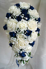 Teardrop Wedding Bouquet, Ivory and Navy Blue Roses with pearls