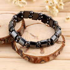 Fashion Black Magnetic Hematite Healing Mens Womens Loose Beads Bracelet WP