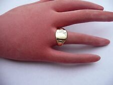 SUPERB MENS VINTAGE HEAVY SOLID 9CT GOLD SIGNET RING SIZE T 19.5MM DIA 4.5 GRAMS