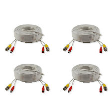 4x 30m 100ft Security Camera BNC Video Power Extend Connector Cables Wire White