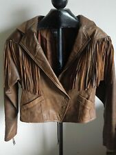 WOMENS VINTAGE LEATHER PARIS SPORTS CLUB FRINGE BIKER JACKET LARGE BROWN