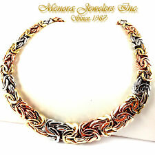 "20"" 14K TRI COLOR Gold BYZANTINE Collar Necklace Graduating 44.5g 3 Color"