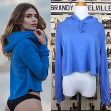 Brandy melville FLEECE LINED! Blue pullover Semi Crop Sweater hoodie NWT