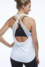 Fabletics Athletic Sol Tank Mesh Open Back White Size Small S 6 Kate Hudson NWT