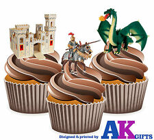 Castello Medievale Cavaliere Drago 12 COMMESTIBILE CUP cake topper decorazioni St George'S