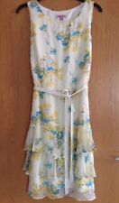 Monsoon Dress Size 14 Yellow Floral Silk Chiffon Lined Tie Waist