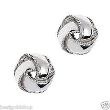 8mm Textured Trim Love Knot Rosetta Stud Earrings Real 925 Sterling Silver