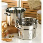 3 pc STOCK POT cooking PASTA strainer INSERT steamer basket soup pan & Glass Lid