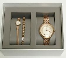 NEW FOSSIL 3 PC SET ROSE GOLD TONE,ROMAN #S,2 BRACELETS,CRYSTAL WATCH-BQ3078SET