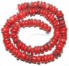 CRL219fsp Dark Red 7x3-10x5mm Rondelle Bamboo Coral Gemstone Beads 15""