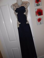 **STUNNING** AX PARIS SIZE 10 NAVY NUDE LACE SIDES MAXI DRESS *FAST POSTAGE**