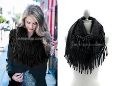 BLACK FRINGE INFINITY Scarf Circle Crochet Knit Long Warm Eternity BOHO New