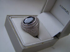 Superbo Unisex ARGENTO Sterling Diamond looklike SIGNET RING size P INUSUALE RARA