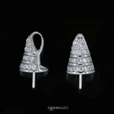 1PC Fine Sterling Silver CZ Bead Pearl Cup Pin Pendant Bail Connector #99019