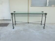 "VINTAGE 20C MODERNIST ""HOMAGE TO GIACOMETTI "" IRON ETRUSCAN STYLE CONSOLE TABLE"