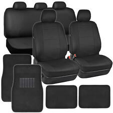 Black PU Leather Seat Covers for Car SUV Auto w/ Front & Rear Carpet Floor Mats