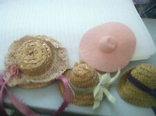 doll's straw hats bonnets with millinery flowers ribbon & lace pink hat lot of 4