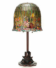 "29"" TIFFANY STYLE POND LILY / HANGING LOTUS TABLE LAMP #13829  STAINED GLASS"