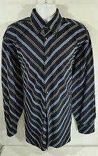 TOMMY HILFIGER Shirt Black and Blue Diagonal Stripes Long Sleeves Mens XL