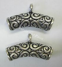 2 Bali Metal Curved Tube Connector Beads In Antique Silver Nickle Tone JF267