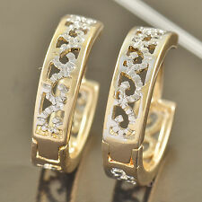 14*4mm Exquisite 9K Gold Filled 2-Tone Huggie Hoop Earrings F3610