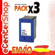 3 Cartuchos Tinta Color HP 22XL Reman HP Deskjet 3940