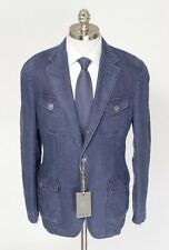 CANALI Blue Denim Linen Unconstructed Rolling 3Btn Coat Field Jacket 52 42 R NWT