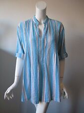 Soft Surroundings Blue Stripe Roll Up Sleeve Crinkle Cotton Tunic Shirt Top M