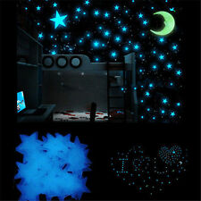 100X Glow In The Dark Stars Moon Stickers Glue Bedroom Home Wall Room Decor L7S