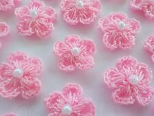 100! Crochet Wool Flowers With Pearls - Pretty Pale Pink Flower Embellishments!