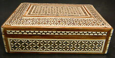 "Vintage Inlaid Wooden Box w/ Mother of Pearl 6.13"" x 4"" x 2"" Good Condition"