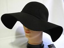 Vintage 100% Wool Felt Women Lady Wide Brim Floppy hat with Bow Knot Black