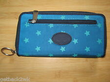 NEW! Fossil Key Per Zip Around Clutch Wallet Handbag Bag Key Chain ID Blue Stars