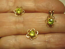 AMAZING VINTAGE 14K SOLID GOLD  GENUINE PERIDOT EARRINGS AND PENDANT SET ESTATE