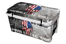 24Mil FULL SKIN Graphic Wrap Decal for YETI TUNDRA 65QT Cooler USA Ammo Skull