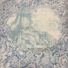 Aqua Blue French Toile de Jouy Japan Yuwa Fabric Live Life Collection- Per Meter
